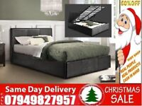 Best Price Stock Kingsize Single Double Leather Ottoman Bed With Memory Foam