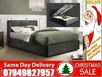 New Offer Kingsize Single Double Leather Ottoman Bed With Memory Foam