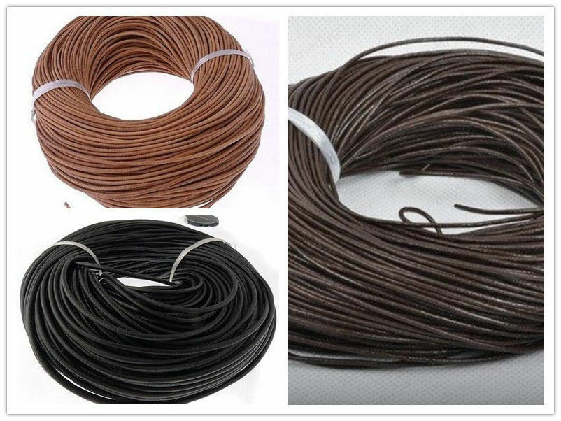 5m Black Real Leather Round Cord Thong Leather Thickness 2mm.