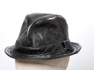 Jill Corbett Fedora 'Snatch' hat black leather handmade bespoke S/M/L/XL/XXL