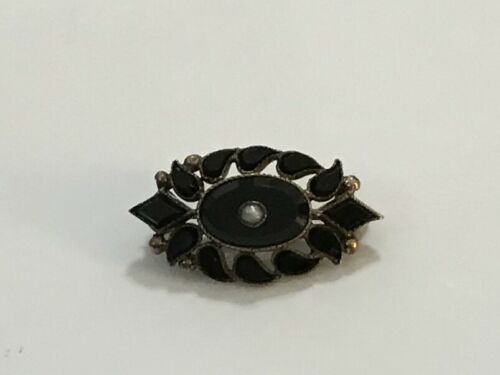 Antique Art Nouveau Bezel Set Jet Small Brooch