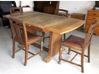 Art Deco Style Oak Draw Leaf Table With Four Chairs, A Great Paint Project For Someone