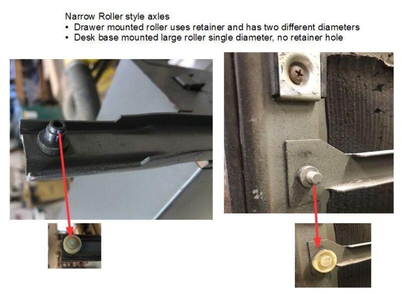 roller set for steelcase tanker desk drawer o-ring style