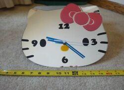 Rare! Sanrio Hello Kitty. large mirror wall clock, time piece. Works! Nice!