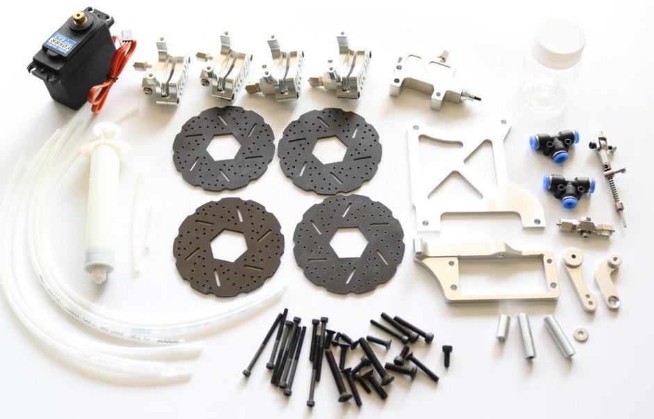 Car Parts - 4 Wheel hydraulic brake kit silver for 1/5 HPI rovan KM Baja 5b ss RC CAR PARTS