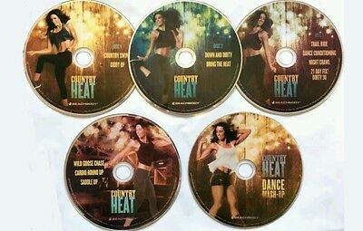 Country Heat Fitness 5 DVD Workout and Dance, 21 Day Fix, Autumn Calabrese, New!