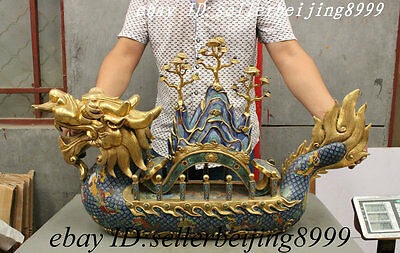 Royal Palace Cloisonne 100% bronze 24K Gold Jade Gem RuYi On Dragon Boat Statue