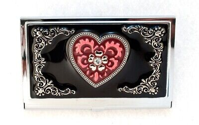 Womens Business Card Holder Black Enameled Case Wcentered Rhinestone In Heart