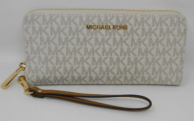 New Michael Kors Jet Set Travel Signature Vanilla PVC Zip Continental Wallet