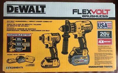 DeWalt 20V Flexvolt Brushless Hammer Discipline Impact Driver Combo Kit DCK299D1T1