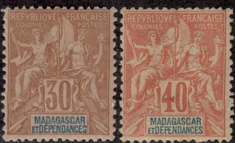 Madagascar,Scott#40+42,MH