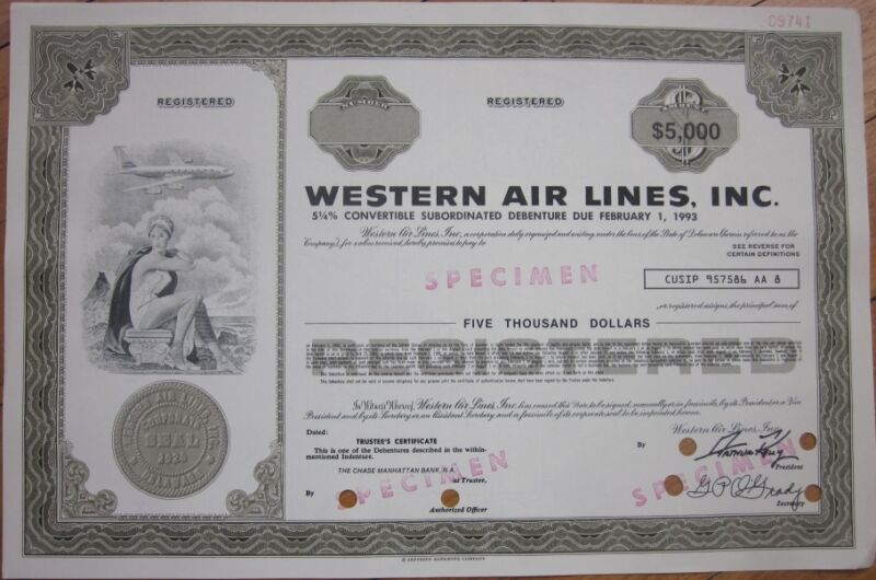 SPECIMEN Stock/Bond Certificate: