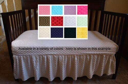 Minky Dot Crib Bed Skirt (various colors) solid crib skirt