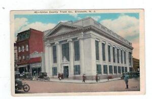 NJ Elizabeth City New Jersey antique post card Union County Trust Co.