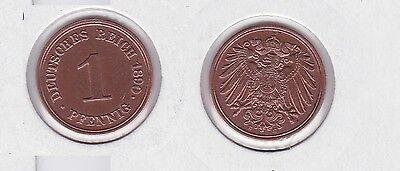 1 Pfennig Kupfer Münze Kaiserreich 1890 E Jäger Nr.10 vz+ (119026)
