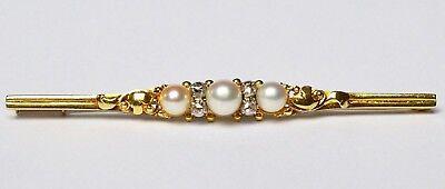 Brosche 14 Karat 585 Gold 4,77 g Gelbgold Weißgold 3 Perlen 4 Diamanten 1920/30