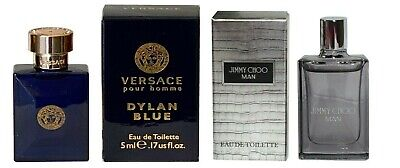 Mens Aftershave Miniature Mini Gift Travel x2 Jimmy Choo Versace Dylan Blue