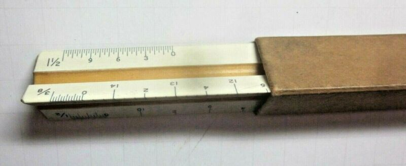 """Smith USA 3 Sided 12"""" Wood In Plastic 1940 Ruler & Sleeve Architect Engineer Vtg"""