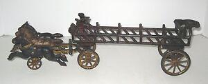 1920s-Hubley-Cast-Iron-Fire-Truck-Horse-Drawn-Ladder-Wagon-17
