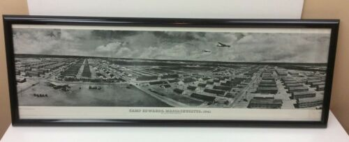 """WWII Camp Edwards Massachusetts 1941 Framed Panoramic Photograph Print 36"""" x 11"""""""