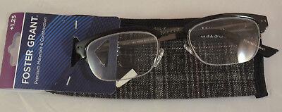 Foster Grant Warwick Reading Glasses +1.25 Black Frames