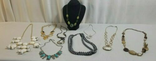 10 Piece NECKLACES Costume Jewelry Lot TURQUOISE STATEMENT, Polished, Bead # 23