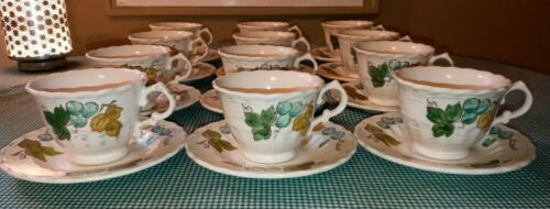 12 Metlox Vernonware Vineyard Cup & Saucer Sets Blue Grapes Green Gold Leaves EX