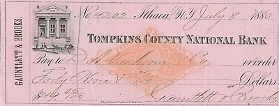 1880  Tompkins County  National Bank  Ithaca    New York  Revenue Stamp Vignette