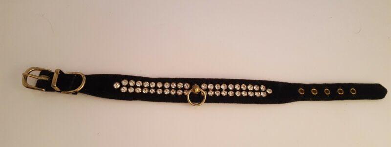 Vintage Black Velvet & Rhinestone Dog Collar Small 1950