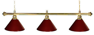 "61"" Pool Table Light - Billiard Lamp Brass Burgandy With Metal Shades"