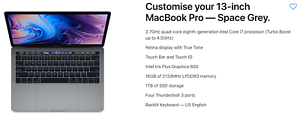 "2.7 Ghz 1TB 16GB Ram 13"" 2018 Macbook Pro"