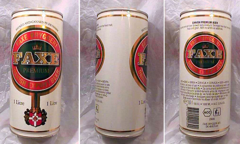 FAXE PREMIUM DANISH EXPORT BEER - 1995 - ONE LITER BOTTOM OPENED PULL TAB CAN
