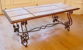 Parchment Coffee Table Gilt Wrought Iron Antique French 1940s