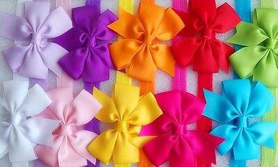 10pcs Grosgrain Baby Toddler Girl Princess Headband Hair Bow Band Accessories