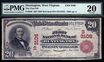 20  1902 Red Seal  The First National Bank Of Huntington  Wv  Ch  3106  Pmg 20