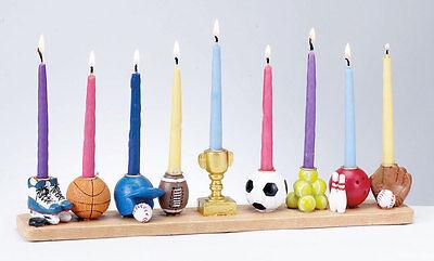 HAND PAINTED SPORTS MENORAH - Jewish Gift - Hanukkah Chanukkah Chanukah