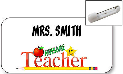 WHITE NAME BADGE TAG FOR BEST TEACHER GIFT CHRISTMAS PRESENT SAFETY PIN (Best Christmas Presents For Teachers)