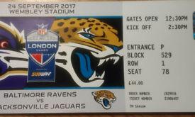 Spare Ticket for Ravens vs. Jaguars game 24/09/2017
