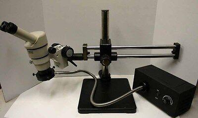 Nikon Smz-10a Stereozoom Microscope Dual Boom Fiber Optic Ringlight Very Nice