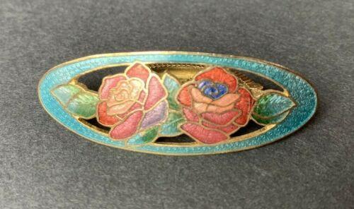 Vintage CLOISONNE ENAMEL ROSE SCARF CLIP Red Pink Flowers Leaves Green Blue Gold