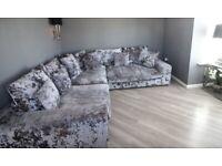 L Shaped Silver Velvet Sofa