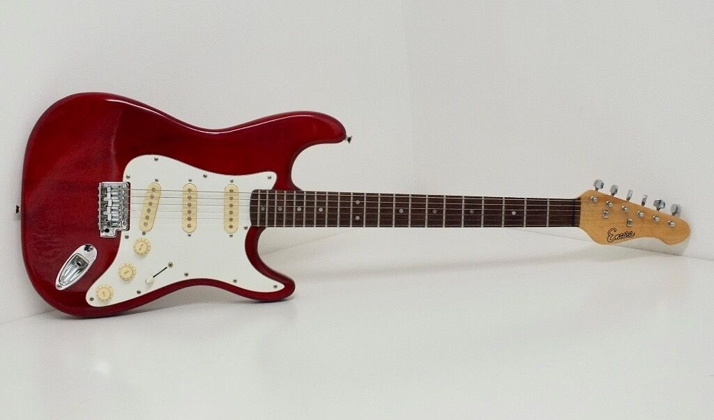 Encore Strat Style Electric Guitar - Translucent Red, Aged Hardware