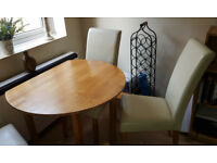 Round Solid Light Oak Drop Leaf Kitchen / Dining Table & 4 High Back Faux Leather Chairs