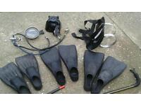 DIVING EQUIPMENT FLIPPERS SIZE 9.10. & 12 MASK AIR PIPES & BOTTLE HARNESS