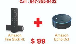 Amazon Fire tv Stick 4k + echo dot brand new Combo Offer