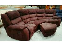 Large recliner curved corner sofa with pouffee can deliver 07808222995