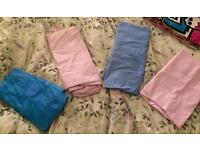 Single mattress sheets x4 pink/blue