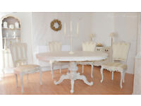 *** UNIQUE & BEAUTIFUL *** French Antique Shabby Chic Dining Table with Four Chairs !!!