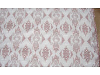 WHITE & PINK Curtain Upholstery Fabric Material 5.5metres x 136cmW NEW