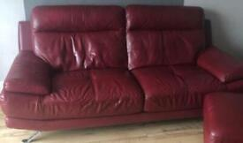 Free red leather sofa 3 and 2 seater